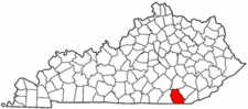 Kentucky Map showing Whitley County