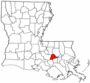 Louisiana Map showing Ascension County