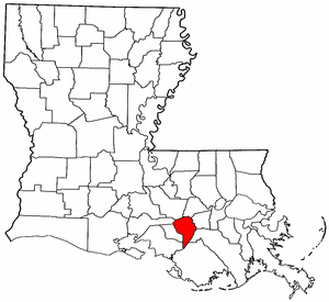 Louisiana Map showing Assumption County