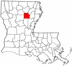 Louisiana Map showing Caldwell County