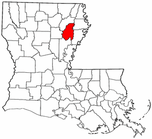 Louisiana Map showing Franklin County
