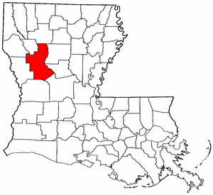 Louisiana Map showing Natchitoches County
