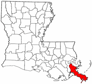Louisiana Map showing Plaquemines County