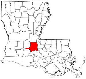 Louisiana Map showing Saint Landry County