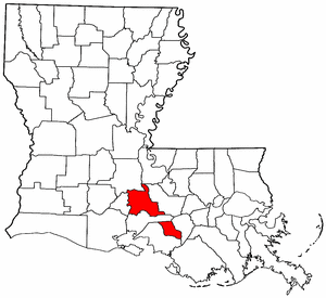 Louisiana Map showing Saint Martin County
