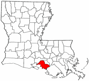 Louisiana Map showing Saint Mary County