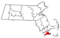 Massachusetts Map showing Dukes County