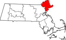 Massachusetts Map showing Essex County