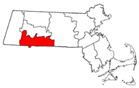 Massachusetts Map showing Hampden County