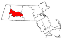 Massachusetts Map showing Hampshire County
