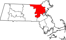 Massachusetts Map showing Middlesex County