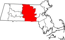 Massachusetts Map showing Worcester County