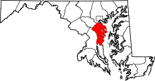 Maryland Map showing Anne Arundel County