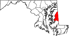 Maryland Map showing Caroline County