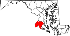 Maryland Map showing Charles County