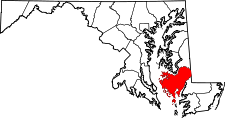 Maryland Map showing Dorchester County