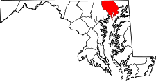 Maryland Map showing Harford County