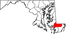 Maryland Map showing Wicomico County