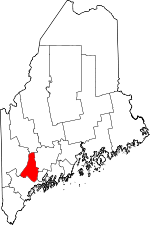 Maine Map showing Androscoggin County