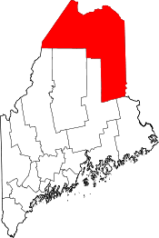 Maine Map showing Aroostook County
