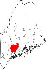Maine Map showing Kennebec County