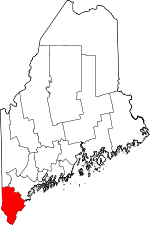 Maine Map showing York County