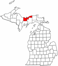 Michigan Map showing Alger County
