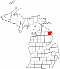 Michigan Map showing Alpena County