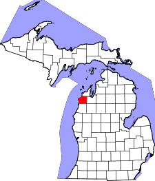 Michigan Map showing Benzie County