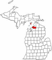 Michigan Map showing Charlevoix County