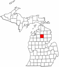 Michigan Map showing Crawford County