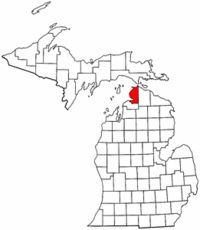 Michigan Map showing Emmet County