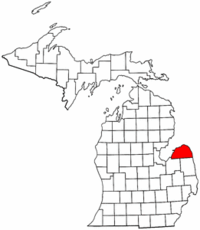 Michigan Map showing Huron County