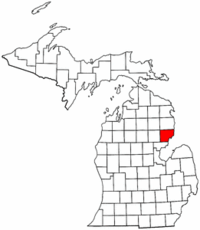 Michigan Map showing Iosco County