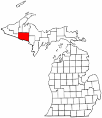 Michigan Map showing Iron County