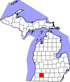 Michigan Map showing Kalamazoo County