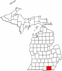 Michigan Map showing Lenawee County