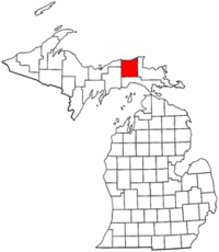 Michigan Map showing Luce County