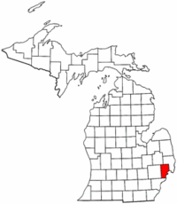 Michigan Map showing Macomb County