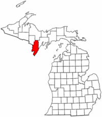 Michigan Map showing Menominee County