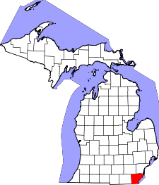 Michigan Map showing Monroe County