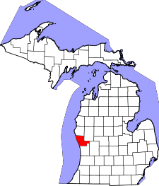 Michigan Map showing Muskegon County