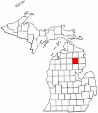 Michigan Map showing Oscoda County