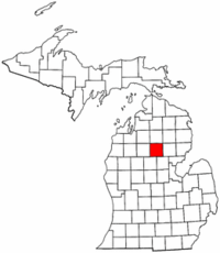 Michigan Map showing Roscommon County