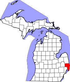 Michigan Map showing Saint Clair County
