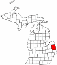 Michigan Map showing Sanilac County
