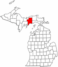 Michigan Map showing Schoolcraft County