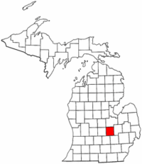 Michigan Map showing Shiawassee County