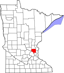Minnesota Map showing Anoka County