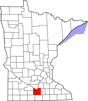 Minnesota Map showing Blue Earth County